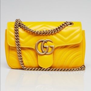 Gucci marmont gg flap mini in yellow leather